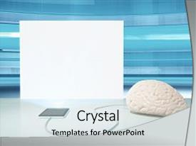 Presentation theme featuring brain connected to electronic device background and a light gray colored foreground