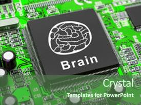 Presentation theme enhanced with brain symbol on computer chip technology concept background and a ocean colored foreground