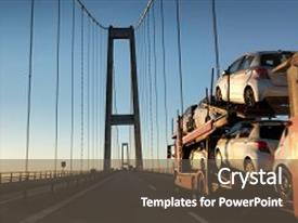 Presentation with brand-new cars on a car transport truck car transporter trailer on the long bridge in the evening background and a dark gray colored foreground.