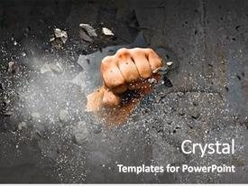 Presentation design featuring break - hand breaking through the wall background and a gray colored foreground