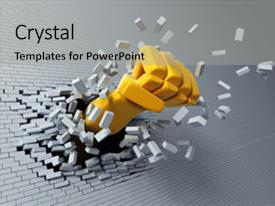 PPT layouts consisting of breaking  - high resolution 3d hand burst background and a light gray colored foreground.