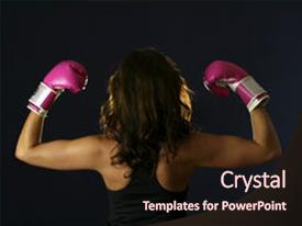 Presentation theme with breast cancer - young woman flexing with pink background and a wine colored foreground.