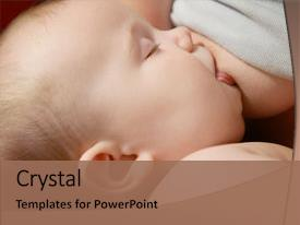 Presentation consisting of breast feeding - little baby breastfeeding close up background and a coral colored foreground.