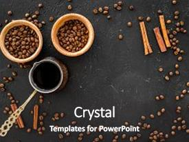 Cool new presentation theme with brew coffee in turkish coffee backdrop and a dark gray colored foreground