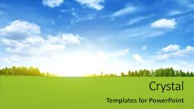 Beautiful slides featuring bright sunset over green field backdrop and a yellow colored foreground