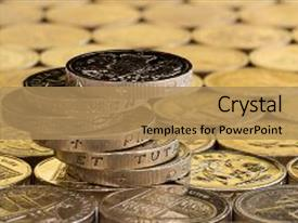 Colorful theme enhanced with british money pound coins balanced backdrop and a  colored foreground.