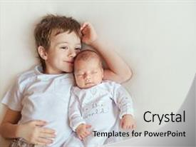 Beautiful slides featuring brother hugging her newborn baby backdrop and a light gray colored foreground.