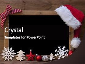 Presentation theme with brown christmas blackboard with copy background and a black colored foreground.
