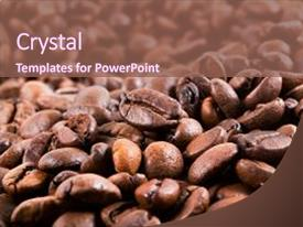 Beautiful presentation theme featuring brown coffee background texture roasted backdrop and a  colored foreground.