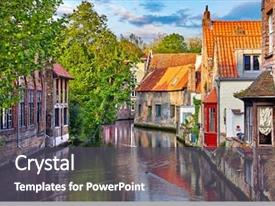 Presentation enhanced with bruges belgium medieval ancient houses background and a dark gray colored foreground