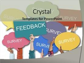 5000 survey powerpoint templates w survey themed backgrounds slide deck with bubbles feedback words speech background and a light gray toneelgroepblik Image collections