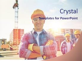 PPT layouts enhanced with builders in hardhats at construction background and a sky blue colored foreground