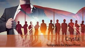 Colorful PPT theme enhanced with building his super team backdrop and a red colored foreground