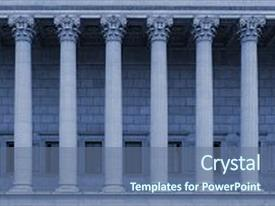Cool new slide deck with building style resembles a law backdrop and a ocean colored foreground.