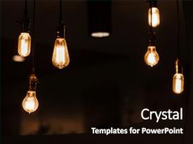 PPT layouts with hanging - bulbs decorating room loft design background and a black colored foreground.