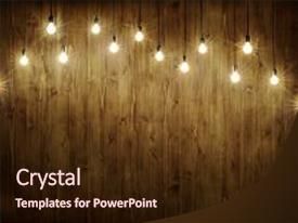 PPT Layouts With Bulbs On Dark Wooden Background And A Wine Colored Foreground