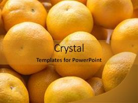Beautiful PPT theme featuring bunch of fresh mandarin oranges backdrop and a gold colored foreground.