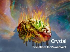 Slide deck featuring burning melting brain elements of this image furnished by nasa background and a dark gray colored foreground