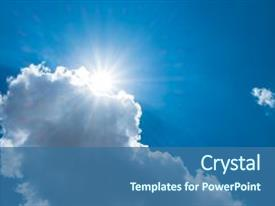 Colorful PPT layouts enhanced with bursting - sun burst behind cloud backdrop and a  colored foreground.