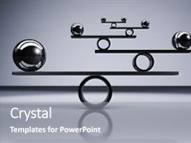 Audience pleasing presentation theme consisting of business and lifestyle balance concept with balanced metal balls on grey background 3d illustration backdrop and a gray colored foreground.