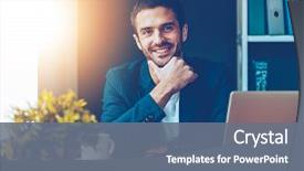 Presentation theme consisting of business - confident and handsome confident young background and a gray colored foreground.