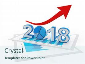 ppt theme enhanced with business graph with arrow up and 2018 symbol represents growth in the