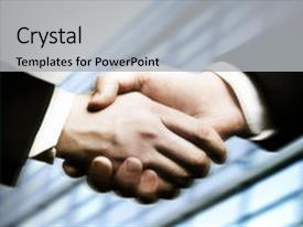 Colorful presentation theme enhanced with business hand shake backdrop and a light gray colored foreground.
