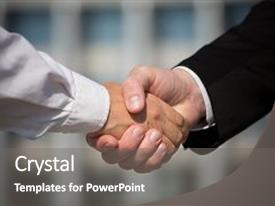 PPT theme featuring business handshake the deal is background and a gray colored foreground.