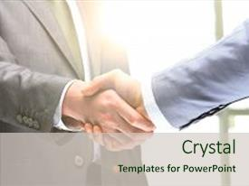 Cool new slide set with career - business handshake two businessman shaking backdrop and a soft green colored foreground