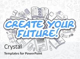 Presentation theme enhanced with business illustration of create your future doodle blue inscription hand drawn cartoon design elements create your future concept background and a white colored foreground.