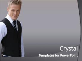 Audience pleasing PPT theme consisting of business man - attractive smiling young businessman backdrop and a gray colored foreground.