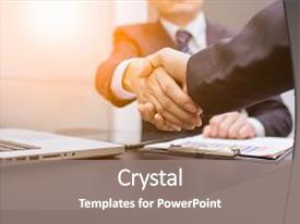 Beautiful PPT theme featuring business man business handshake and backdrop and a gray colored foreground.