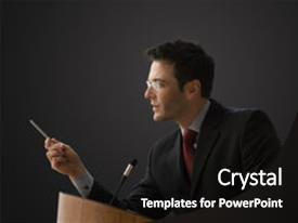 Beautiful presentation design featuring business man - businessman is standing backdrop and a black colored foreground.