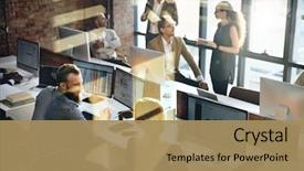 Slide set consisting of business marketing team discussion corporate background and a coral colored foreground