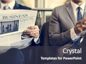 Audience pleasing PPT layouts consisting of newspaper - business men break sit read backdrop and a dark gray colored foreground.