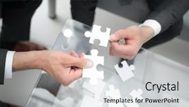 Presentation theme consisting of business partners hold the puzzle background and a light gray colored foreground