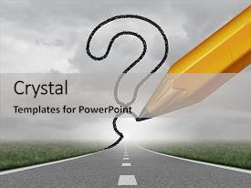 PPT theme enhanced with business path questions road background and a light gray colored foreground.