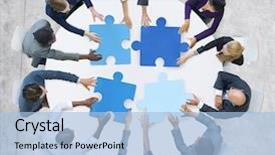 Presentation theme featuring business people and jigsaw puzzle background and a light blue colored foreground