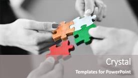 Cool new presentation theme with business people assembling jigsaw puzzle backdrop and a gray colored foreground