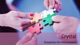Colorful slide set enhanced with business people assembling jigsaw puzzle backdrop and a coral colored foreground