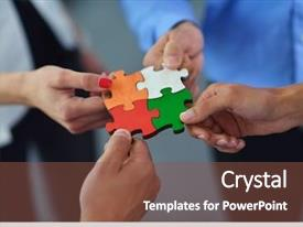 PPT layouts enhanced with business people assembling jigsaw puzzle background and a tawny brown colored foreground