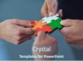 PPT theme enhanced with business people assembling jigsaw puzzle background and a ocean colored foreground