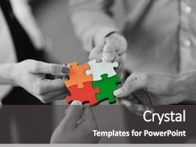PPT theme having business people assembling jigsaw puzzle background and a dark gray colored foreground