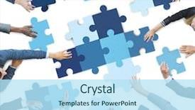 PPT theme having business people piecing puzzle background and a sky blue colored foreground