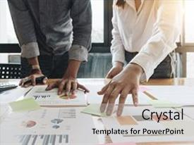 Presentation theme having business people planning strategy analysis from financial document report office concept background and a light gray colored foreground.