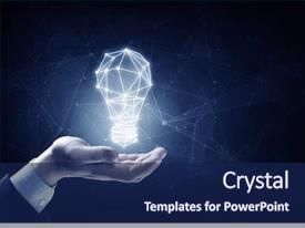 Presentation design with business person holding illuminated light background and a navy blue colored foreground