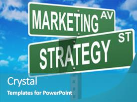 PPT theme with marketing plan - business slogans on a road background and a teal colored foreground.