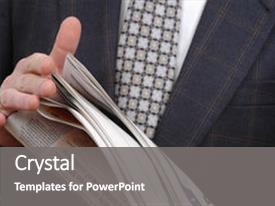 Beautiful presentation design featuring business suit - man reading newspaper backdrop and a gray colored foreground.
