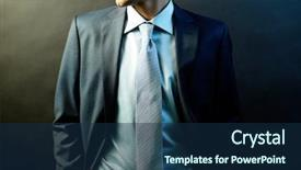 Amazing slide deck having business suits competition - figure of elegant businessman backdrop and a navy blue colored foreground