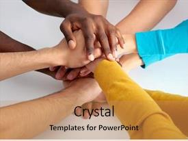 Presentation design consisting of business team putting their hands background and a coral colored foreground